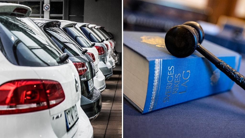 Bilar till salu står på rad vid en bilfirma. Andra bilden visar en lagbok med klubba.