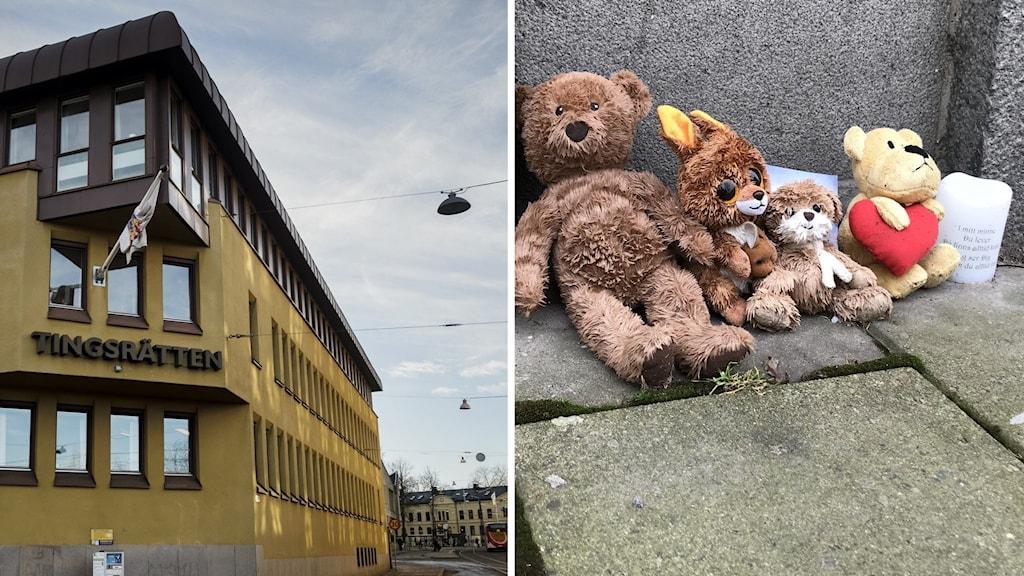Montage: Tingsrätten i Norrköping och Nallar utanför bostaden till den treåriga flicka som hittades död i sitt hem i Norrköping