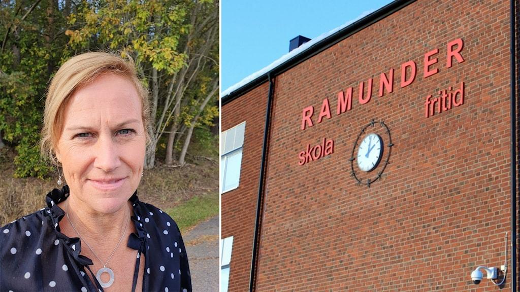 Montage: Charlotte Matsson, rektor Ramunderskolan och fasad Ramunderskolan