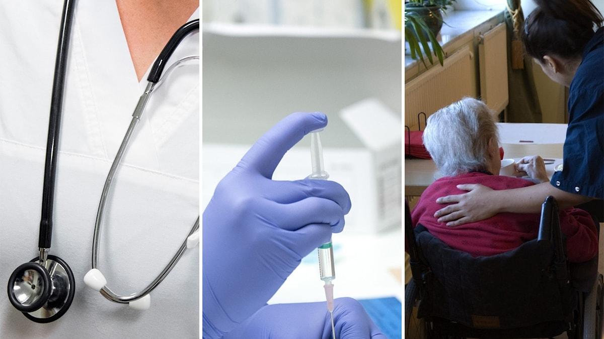 Tredelad bild med en sjuksköterska, en hand som håller i en spruta och en äldre person i rullstol.