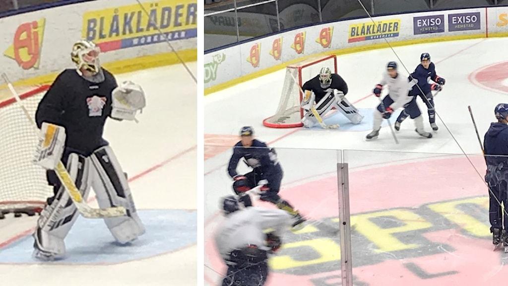 LHC:s nye målvakt Jussi Rynnäs på träningen i Saab Arena.