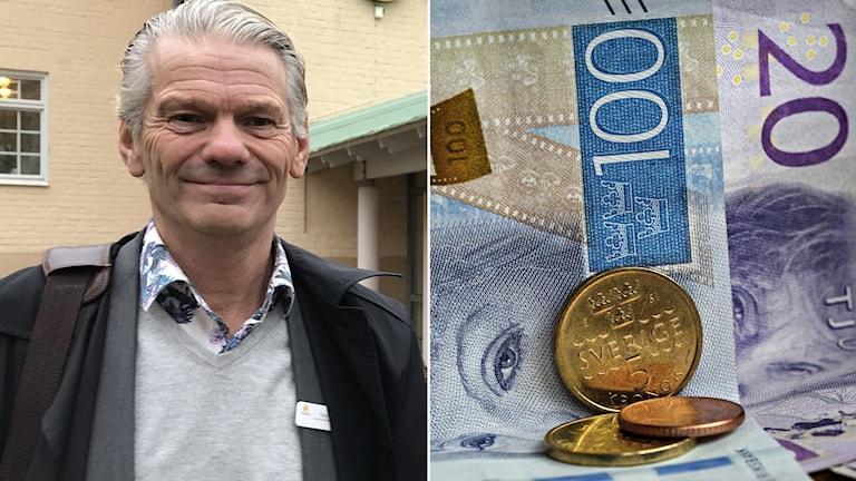 Kollage: Kommunalrådet Peter Karlsson (M) och pengar