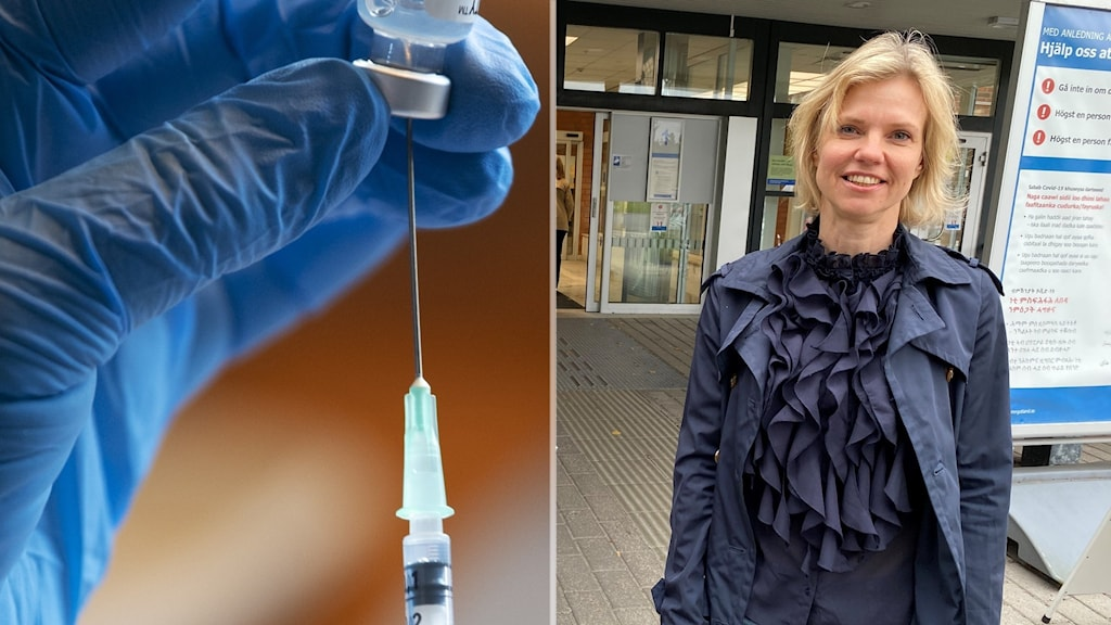 Montage Vaccin covid 19 och Helena Åberg, överläkare på barnkliniken Vrinnevisjukhuset