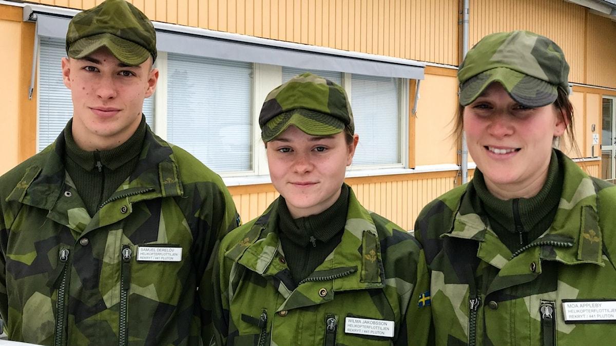 Rekryter Malmen 2019: Samuel Derelöv, Wilma Jakobsson, Moa Appelby. Foto Peter Weyde, Sveriges Radio