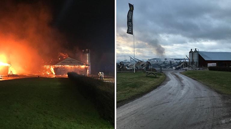 Vretagymnasiet under och efter branden