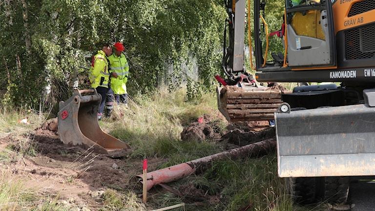 Avgrävd fjärrvärmeledning i Norrköping.