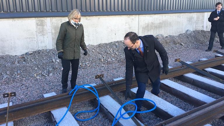 Trafikverkets Generaldirektör Lena Erixon, Infrastrukturminister Tomas Eneroth, Kommunstyrelsens ordförande Lars Stjernkvist.
