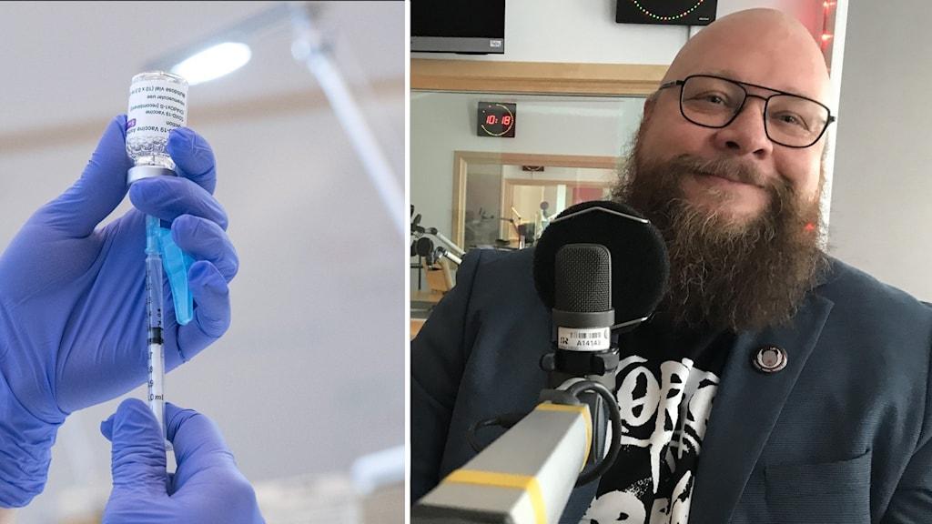 Bilden visar en spruta med vaccin samt forskaren Daniel Västfjäll.