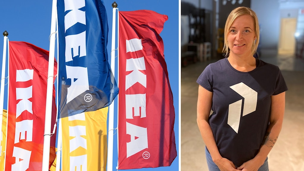 Ikea-flaggor och varuhuschefen Maria Ängsberg.