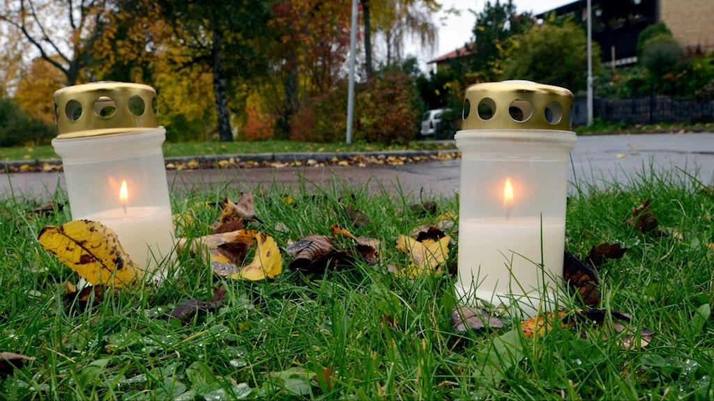 Gravljus på platsen för dubbelmordet 2004.
