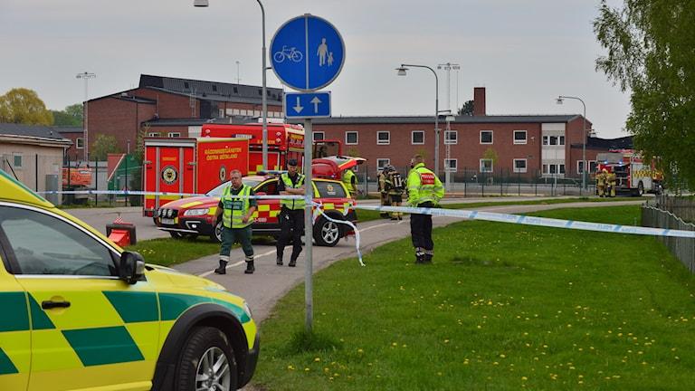 Avspärrning efter ammoniakutsläppet i Söderköping.