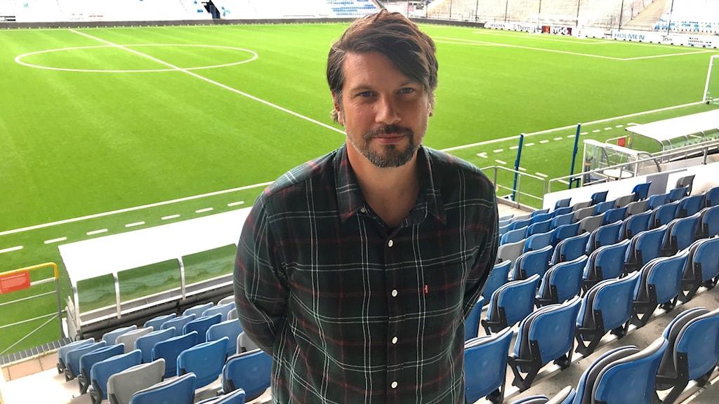Daniel Ekvall som är IFK Norrköpings idrottspsykologiska rådgivare på Östgötaporten.