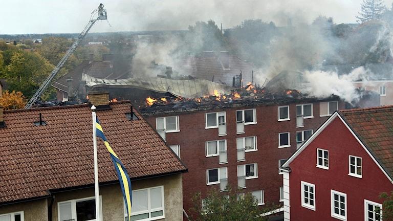 Brand på Barnhemsgatan i Linköping.