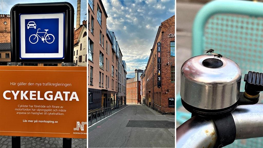 Delar av Västgötegatan i Norrköping är numer cykelgata. Bilar måste lämna företräde.