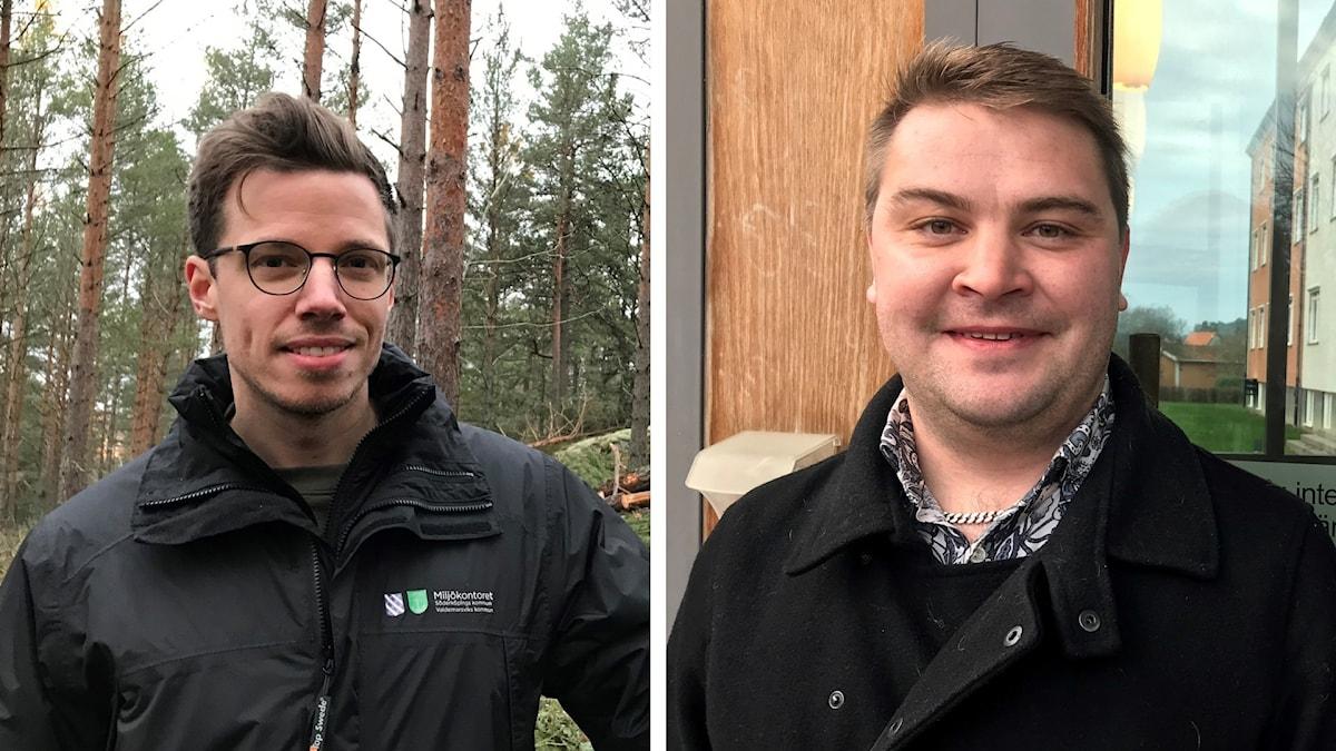 Kommunekolog John Ringström till vänster och Martin Sjölander, M, kommunstyrelsens ordförande i Söderköping.