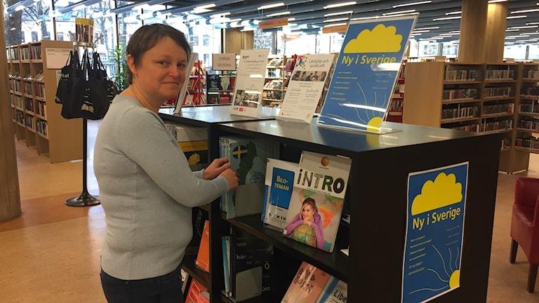 Sofia Larsson, bibliotekarie på Norrköpings stadsbibliotek Foto: Lisen Elowson Tosting/Sveriges Radio