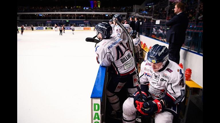 Linköpings spelare deppar under torsdagens ishockeymatch i SHL mellan Djurgården Hockey och Linköping HC på Hovet i Stockholm.