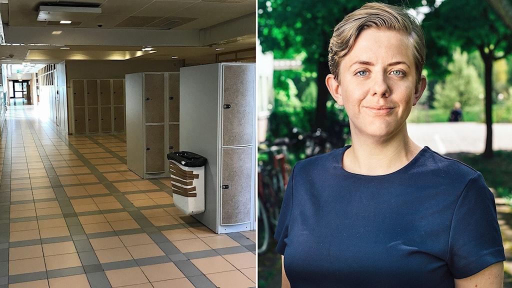 Montage: Korridor Skäggetorpsskolan och Maria Brandén