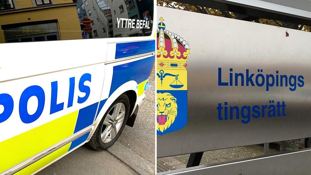 Bilden visar en polisbil och en bild på Linköpings tingsrätt. En man misstänks för att inte ha redovisat tolv miljoner kronor på sitt företag.