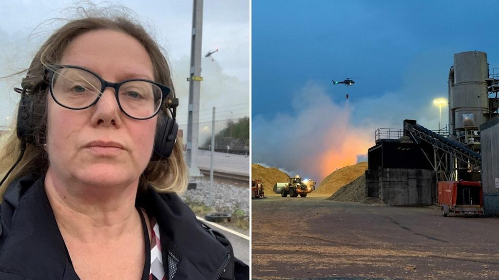 Vår reporter Jenny Grentzelius rapporterar från brandplatsen.