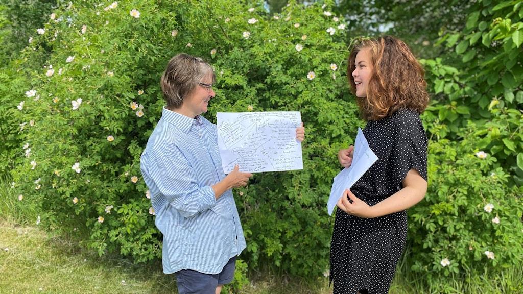 Titti Knutsson och Sandra Andersson står framför en rosenbuske i grönskan och presenterar sitt scenkonstprojekt Kairos.