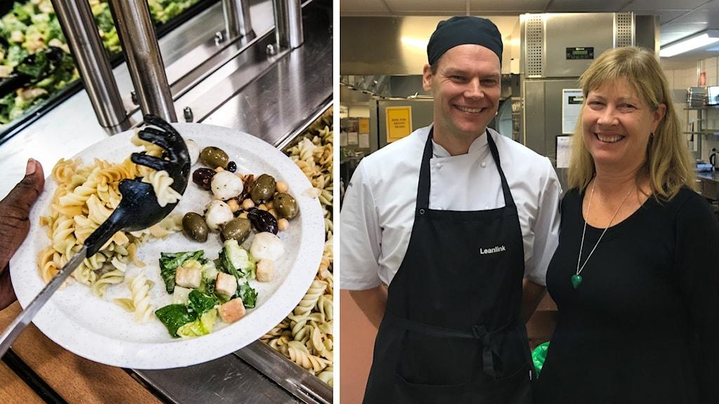En tallrik med skolmat och restaurangchef Bjarne Boberg tillsammans med Åsa Kullberg områdeschef för Kost och restaurang i Linköpings kommun.