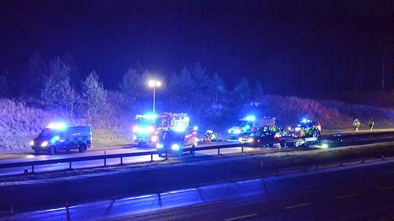 Bild från olyckan på E4 i höjd med Väderstad.