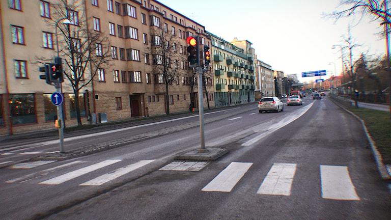 Bussfilerna på Hamngatan i Linköping togs bort under torsdagen.