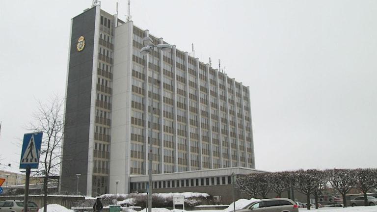 Polishuset i Norrköping vintertid.