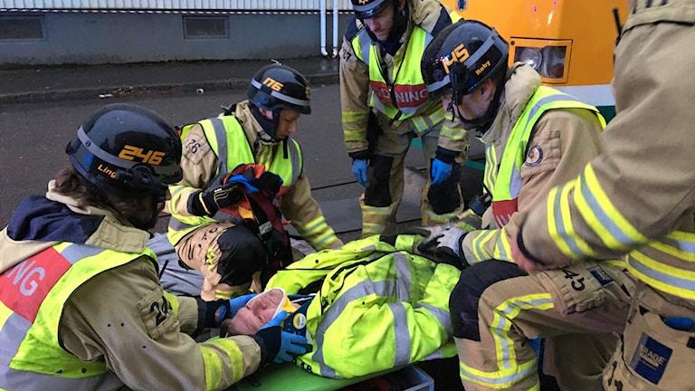 Räddningsövning spårvagnsolycka.