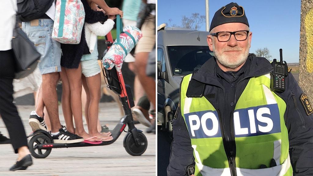 Tre personer åker på samma elsparkcykel. Trafikpolis Lars-Jonney Jonsson.