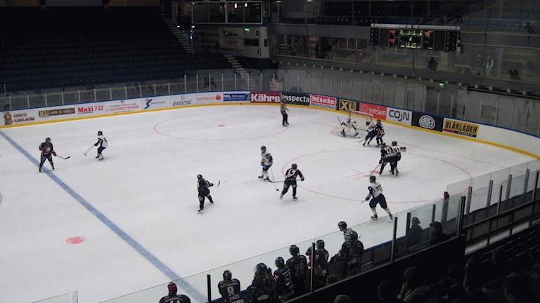 LHC-spelare avlossar ett skott i matchen mallan LHC och Sundsvall i svenska damhockeyligan