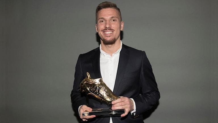 Årets skyttekung i superettan Shkodran Maholli, Åtvidabergs FF under Fotbollsgalan i Globen 2016.