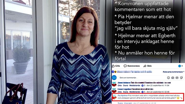 Kommentaren med en emoji med en pistol mot ett huvud uppfattades som ett hot av kommunen. Men Pia Hjelmar menar att det inte är frågan om något hot.