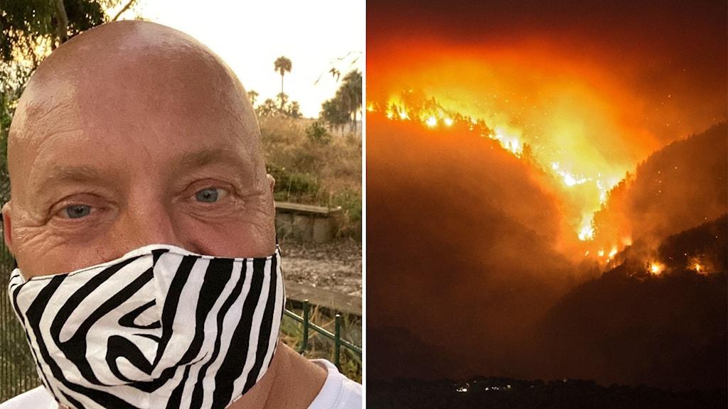 Mats Johansson från, Boxholm, Östergötland som bor i Estepona, Spanien, bor i närheten av stora bränder där 3000 personer har flytt sina hem.