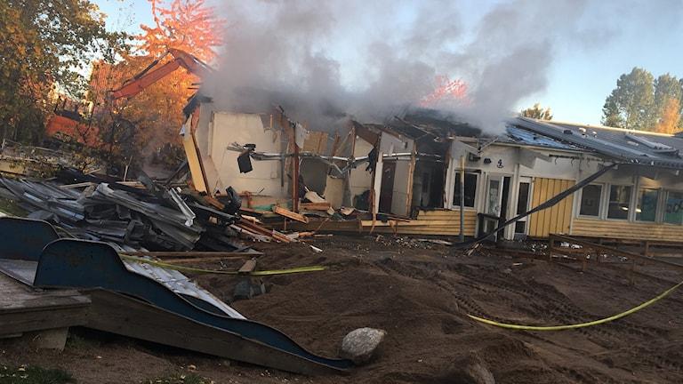 Svårsläckt brand på förskolan Smultronet i Norrköping.