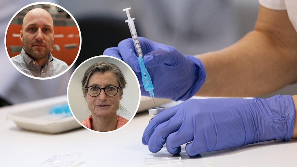 En spruta laddas med covid-19 vaccin. Smittskyddsläkare Britt Åkerlind och sjukvårdsledare Rickard Lundin.