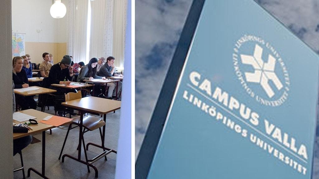 Elever skriver högskoleprovet i klassrum.
