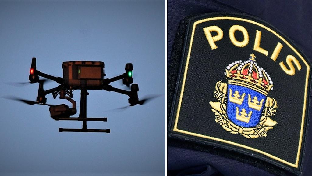 En drönare i luften i kollage med närbild på ett polisemblem.