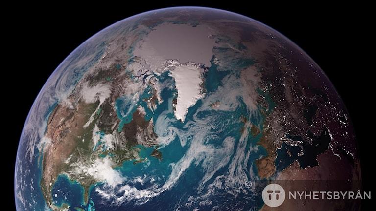 Jorden på fotografi taget från rymden.