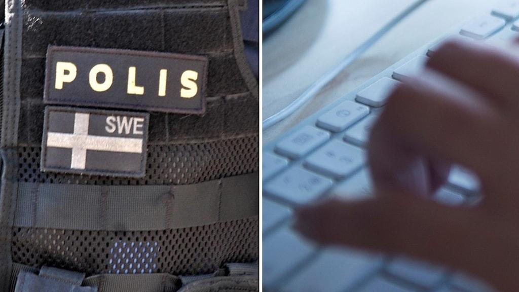Tvådelad bild, dels på en polisväst och dels på en suddig hand på ett tangentbord.