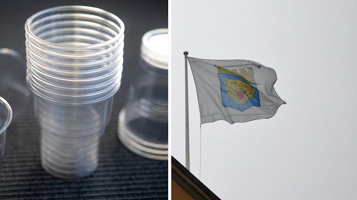 Montage plastmugg, Linköpings stadshus
