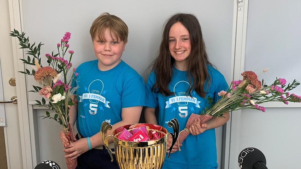 Simon Jansson och Elsa Erwing, Folkungaskolan 5B Linköping Vinnare Vi i Femman 2021