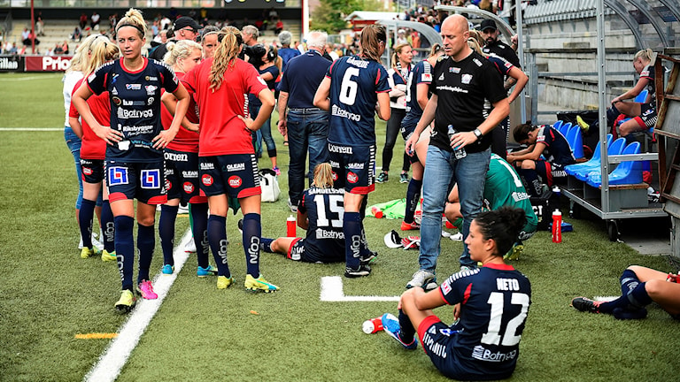 Linköpingsdepp efter förlusten i finalen i Svenska cupen mellan FC Rosengård och LFC på Malmö IP.