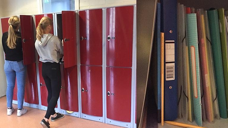 elever vid skåp i korridor