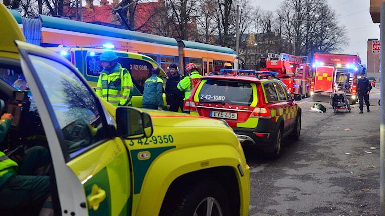 Räddningspådrag på Östra promenaden i Norrköping.