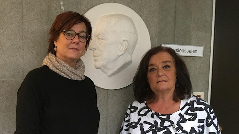 Anna Carlstedt, nationell samordnare mot våldsbejakande extremism och Mani Gustavsson, samordnare för brottsförebyggande arbetet och arbetet mot våldsbejakande extremism i Motala