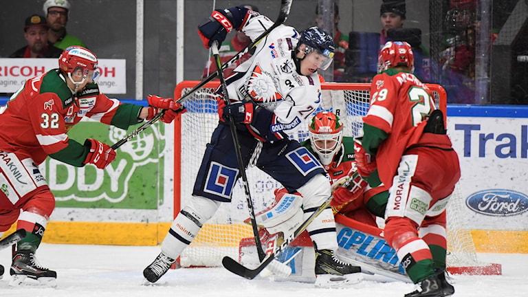 Linköpings Emil Sylvegård gör 0-1.