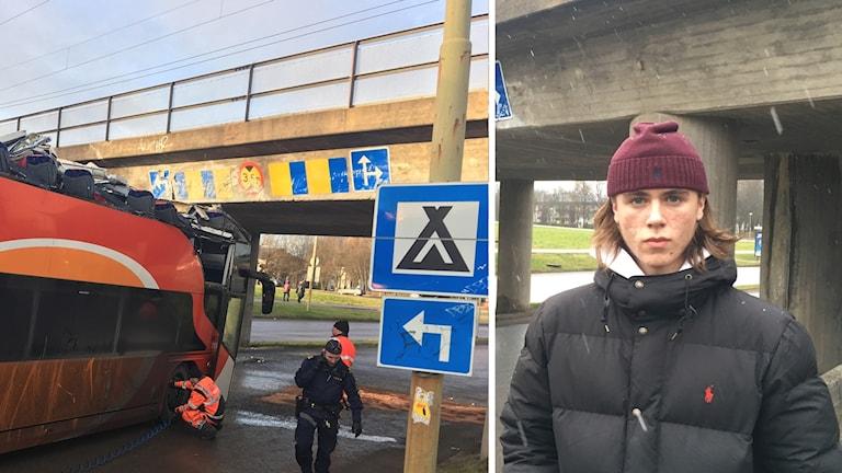 Montage Olycksbussen Grenadjärgatan och Oskar Hovlund
