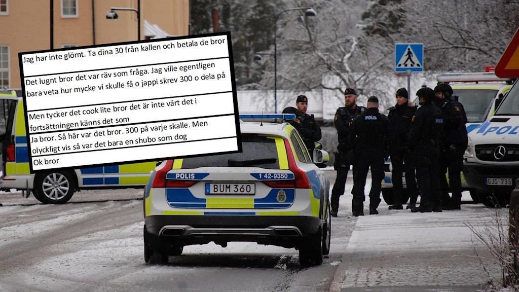 Stort polispådrag vid Linköpings tingsrätt under rättegången där sex män står åtalade för tre mord i Norrköping. Samt ett utdrag ur chatten där de inblandade skrev om betalningen till skyttarna.
